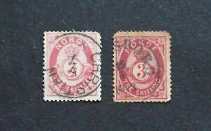NORWAY - 1872 SCARCE TWO DIFF 3sk THREE SKILLINGS VFU RR