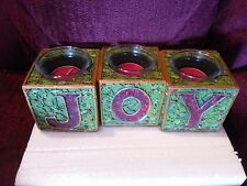 NEW tii Collections Christmas 3 Blocks -JOY- Candle Holder Mantel Piece Hallmark