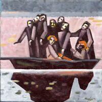 """Chudinovskikh Russischer Expressionist Öl Leinwand """"Jesus und Fischer"""" 51x51 cm"""