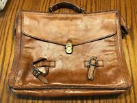 Vintage? THE BRIDGE Brown Leather Briefcase Laptop Attache Bag Made in Italy