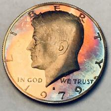 1979-S KENNEDY HALF DOLLAR PROOF COLOR FLAWLESS UNC TONEDBU NEON BLUE(DR)