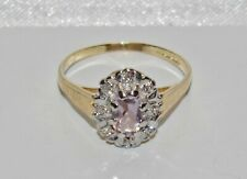 9ct Gold Amethyst & Diamond Cluster Ring - size L
