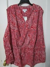 NWT Women's LIZ CLAIBORNE RED Paisley Print Cross Blouse Size 5X  - MSRP $38