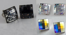 GENUINE SWAROVSKI CRYSTAL ASYMMETRIC SQUARE & CHESSBOARD 10mm STUD EARRINGS