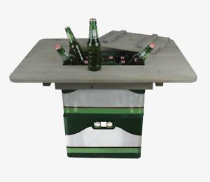 Bierkasten Tisch Holz Grau Event Grillparty Balkon Strand Geburtstag Vatertag