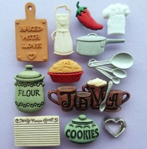 KITCHEN Baking Chef Cook Pie Recipe Java Coffee Apron Dress It Up Craft Buttons