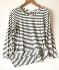 CAbi #276 Medium Gray Ivory Bengal Striped Tee Shirt Top Asymmetrical Hem M