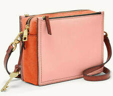 Fossil Campbell Crossbody Persimmon Leather Suede Orange ZB7596836 NWT $138 MSRP