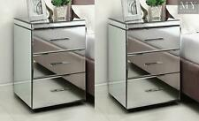 (PAIR) RIO Mirrored Bedside Table Chest Nightstand - Mirror Furniture