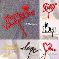 2PCS Valentine's Day Cake Topper Love Heart Gold Acrylic Cupcake Decoration Hot