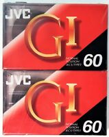 2 JVC GI 60 Type 1 Normal Position Blank Audio Cassette Tapes NEW and Sealed