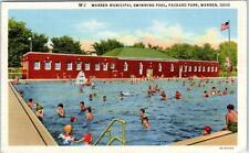 WARREN, Ohio  OH   Packard Park  MUNICIPAL SWIMMING POOL  1943 Linen  Postcard