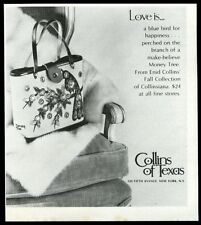 1969 Enid Collins blue bird money tree purse handbag photo vintage print ad