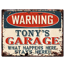 PPFG0103 WARNING TONY'S GARAGE Tin Chic Sign Home man cave Decor Funny Gift