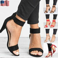 Women Thin High Heels Stiletto Sandals Summer Zip Ankle Strap Pumps Party Shoes