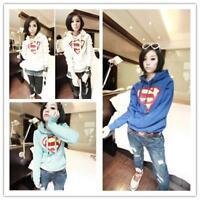 Womens Superman Hoodie Sweatshirt Jumper Sweater Hooded Pullover Outwear Tops Q