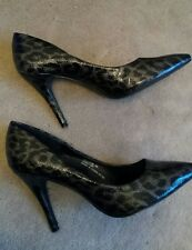 Evie Silver Grey and Black Leopard Print Stiletto Heel Shoes 6