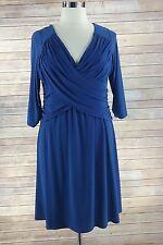 BSlim Dress XL royal blue stretch faux wrap stretch b slim fit flare 3/4 sleeve