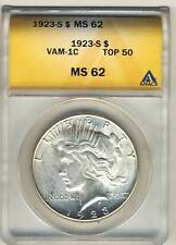 C3050- 1923-S VAM-1C PITTED REVERSE TOP 50 PEACE DOLLAR ANACS MS62