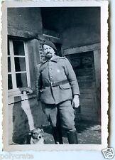 Portrait homme militaire barbichette - Photo ancienne années 1940