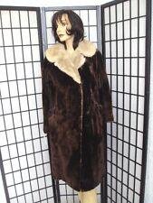! MINT ARCTIC BEAVER FUR COAT JACKET W MINK COLLAR WOMEN WOMAN SIZE 10-12 MEDIUM