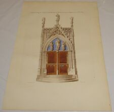 1839 (or Earlier) French Antique COLOR Print/PORTAL OF CHAPEL AT ST PIAT