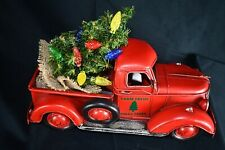 Vintage red truck with Christmas tree includes multi color lights. 12.5 in. long