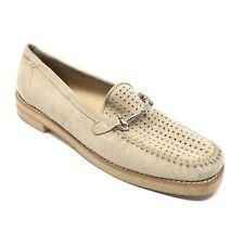 Women's Stuart Weitzman Loafers Shoes Size 7.5AA Beige Suede Horsebit Spain J1