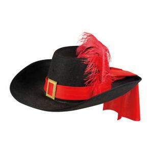 NEU Hut Musketier Sébastien schwarz mit rotem Band Musketierhut