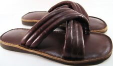 Cable Car Clothiers Men Leather Slippers One Size Fit All Brown