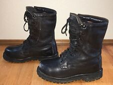 VINTAGE BLACK LEATHER MILITARY COMBAT SECURITY BIKER PATROL BOOTS SIZE 7 R