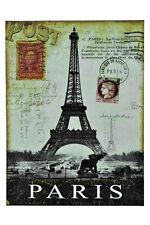 "Vintage Postcard Stamps 16"" Paris Eiffel Tower Card Metal Wall Sign Plaque Decor"