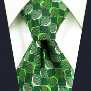S&W SHLAX&WING Tie Sets for Men Green Emerald Checkered Neckties