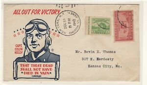 US WWII patriotic cachet cover Captain Colin Kelly Dec. 31 1942!