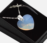 925 Silver Necklace made with Swarovski Crystals *WHITE OPAL* Heart 10-28MM