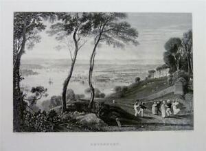 Fine Antique Print 1878: SHIPS, PLYMOUTH DOCK, DEVONPORT, DEVON by J.M.W. TURNER
