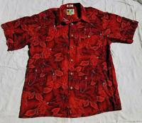M.E. Sport Vintage Red 100% Rayon Short Sleeve Shirt Hawaiian Floral Hibisucs L
