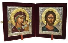 Pair Religious Russian Wedding Icon Set Christ the Teacher Virgin Of Kazan 11""
