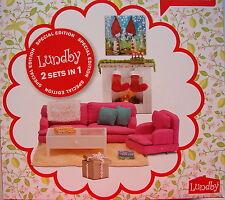 Wohnzimmer mit weihnachtlicher Kaminecke Lundby Småland Pink Special Edition