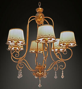 Chandelier Classic Wrought Iron Gold And Crystal 6 Lights Bga 1639-6