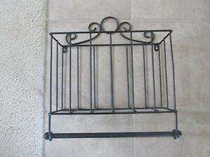 Black Wire Basket & Paper Towel Holder  EXC  Free Shipping
