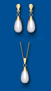 Pearl Set Yellow Gold Classic Pendant and Earrings Drop Hallmarked British Made