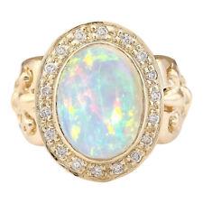 6.40 Carat Natural Opal 18K Solid Yellow Gold Diamond Ring