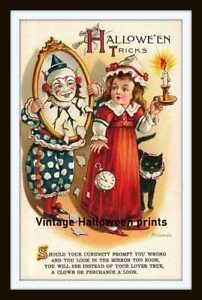 Vintage Style Halloween 5x7 Size Print Decoration - Creepy Clown with Girl