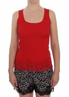 NWT $360 DOLCE & GABBANA Blouse Red Silk Stretch Camisole Lingerie IT1 /US XS