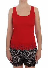 NWT $360 DOLCE & GABBANA Blouse Red Silk Stretch Camisole Lingerie IT4 / US L