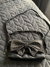 Butler & Wilson Black Leather Diamanté Bow Clutch Hand Bag With 2 Straps