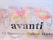 1 pack 12 Shower Curtain Hooks Avanti Garden Butterflies Flowers Purple Pink