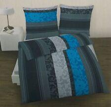 bef5410faaac92 ido/Dobnig Fein Biber Bettwäsche Set 135 x 200 cm anthrazit/blau gestreift