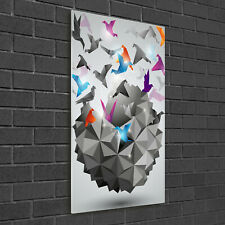 Wand-Bild Kunstdruck aus Hart-Glas Hochformat 50x100 Origami Vögel